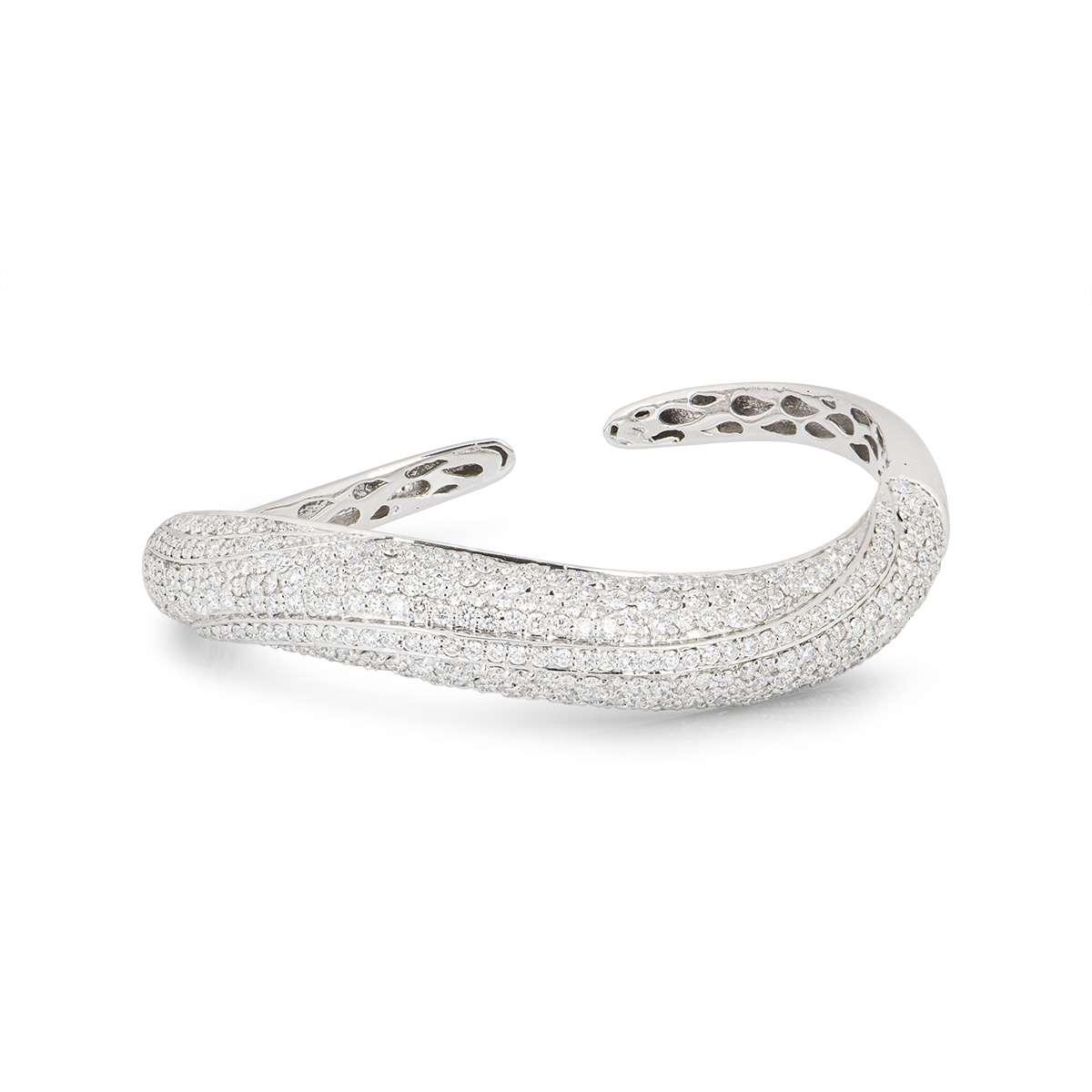 White Gold Fancy Diamond Set Bangle 6.98ct